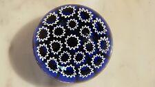 Murano Glass Millefiora Star Canes on Cobalt Paperweight