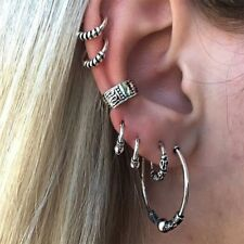 Stylish Women Men 7 Pcs Stainless Steel Punk Hoop Cuff Ear Clip Earring Jewelry