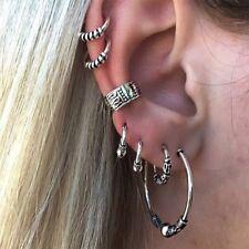 Stylish Women Men 7 Pcs Stainless Steel Punk Hoop Cuff Ear Clip Earring Jewelry