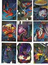 1995 FLEER ULTRA  X-MEN HUNTERS & STALKERS SET 1-9 INSERTS  WOLVERINE SPIDER