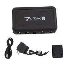Black 7 Ports High Speed USB 2.0 Splitter Powered AC Adapter HUB For PC Computer