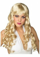 Haut femme blonde perruque cosplay longues franges cheveux bouclés fancy dress