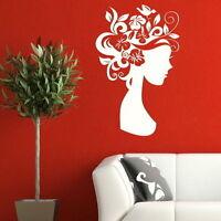 Woman Wall Sticker! Girls Art Wall Vinyl Decal / Floral Hair Wall Transfers WO23