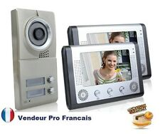 "Portier Interphone Visiophone 2-moniteur 7"" LCD 1-caméra Infrarouge Vision Nuit"