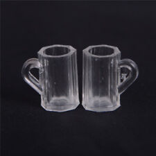 4pcs Dollhouse Miniature Plastic Clear Beer Mugs Cup Kitchen Accessory 0n