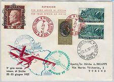 47393 - ITALIA REPUBBLICA - Storia Postale -   BUSTA: GIRO AEREO di SICILIA 1957
