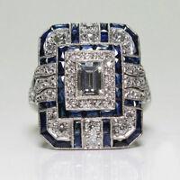 Hot Silver Sapphire & White Topaz Women Jewelry Wedding Engagement Ring Sz 6-10