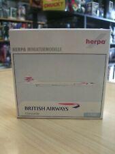 BRITISH AIRWAYS CONCORDE  DIECAST PLANE scale 1:500 by HERPA WINGS 1997