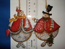 Snowman Ornament set of 2 with Tree and Heart tin 682492  269