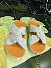 "FitFlop Women's,"" Twiss Crystal Slide"" Platform Wedge  Sandal Size 9 Silver NWOB"