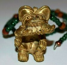 Artisan Casted Pre Columbian Gold Washed Replica Tairona Jaguar Amulet Necklace