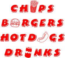 Chips Burgers Hotdogs.... Burger Van Stickers Catering Trailer, Takeaway Decals