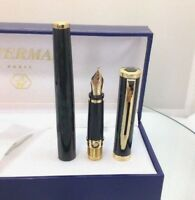 Waterman Preface Green Marble GT Fountain Pen Med Point 18K Gold Nib New NOS