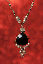 Jet Black Briolette Pendant Simulated Pearl Necklace with Crystals by Swarovski