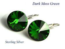 925 Silver Rivoli 12mm Dark Moss Green Earrings Crystals From Swarovski
