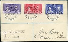 GILBERT + ELLICE ISLANDS 1937 CORONATION SET ANANUKA CANCELS REGISTERED