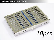 10x 10 Instruments Dental Surgical Sterilization Autoclave Cassette Tray Steel