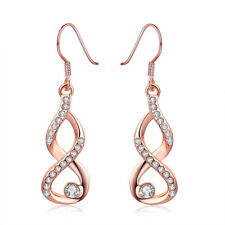 Stunning Dangle Jewellery 18k Rose Gold Filled CZ Crystal Stud Earrings
