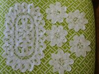 Lot 5 Vintage Coasters with 1 Doily set Lace Crochet and Linen White Snow White