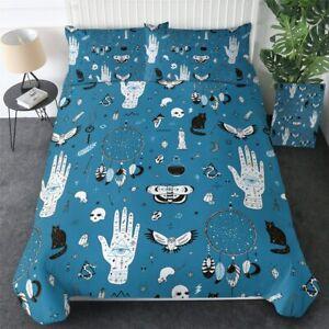 Blue Witchcraft Magic Palm Bat King Queen Twin Quilt Duvet Pillow Cover Bed Set