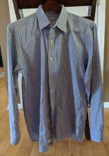 J. Crew Men's Medium Blue Striped Long Sleeve Button Front Shirt