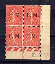 FRANCE Franchise Militaire n° 6 neuf avec charnière - Bloc de 4 coin daté