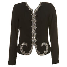 KATE MOSS TOPSHOP Black Silver Jewel Sequin Diamante Embellished Jacket 6 34 US2