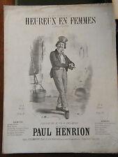 Partition Sheet Music 19 ème Siècle Heureux en femmes Paul Henrion Delange