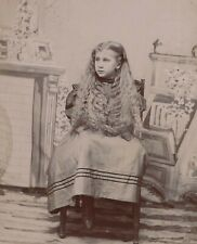 Pretty Girl Long Hair Unusual Pose No Arms Hands Showing Antique Cabinet Photo