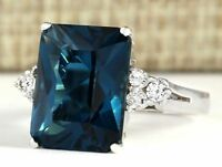 Elegant Woman 925 Silver Blue Sapphire Ring Engagement Wedding Jewelry Size5-11