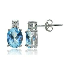 Sterling Silver Blue Topaz and Diamond Accent Oval Drop Stud Earrings