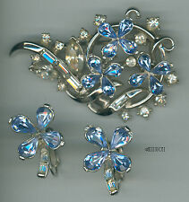 Trifari Silver Blue & Clear Glass Rhinestone Brooch Pin & Earrings Very Rare Set