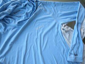 Simms Mens Solarflex UPF 50 Blue Fishing Hoodie Shirt sz S SMALL Performance