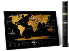 BIG GOLD SCRATCH OFF TRAVEL MAP LAMINATED WORLD MAP PUSH PIN POSTER SCRATCH CARD