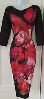 Womens Per Una Black Red Floral Stretch Occasion Wiggle Pencil Midi Dress 8 New.