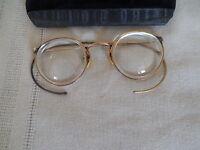 Antique Flu Vue 1/10 12kt GF bifocal eyeglasses, spectacles w/ case