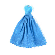 Barbie Doll Pretty Blue Princess Party Dress Evening Clothes Gown^v^