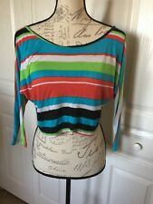 Ladies S Half Long Sleeve Shirt W/Multicolor Stripes And Zipper In Back CB-A07