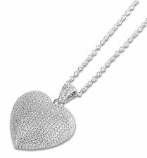 925 Sterling Silver Heart Necklace Cubic Zirconia With Chain For Girls & Women