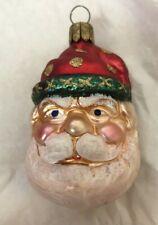 "Blown Glass Santa Head Germany Nm Christmas Ornament Vintage 3"""