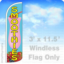 SMOOTHIES Windless Swooper Flag 3x11.5' Feather Banner Sign - Light Blue q