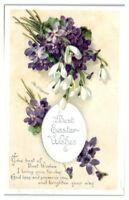 Early 1900s Purple Violets Best Easter Wishes, Ellen Clapsaddle Postcard