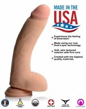 USA Cocks Ultra Real Dual Layer Realistic Feel Suction Cup Dildo10 Inch - Flesh