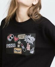 Zara Trafaluc Black Sweatshirt With Patches EUC Size Small