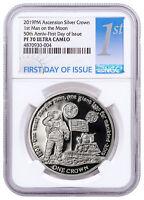 2019 Ascension Island First Man on Moon Silver Proof NGC PF70 UC FDI SKU56337
