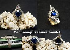 ้Hot 100% Powerful Phaya Blue Real Naga Eye 925 Sterling Silver Thai Amulet Ring
