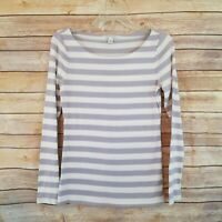 Banana Republic Womens Top Long Sleeve Purple Striped Pullover Size S