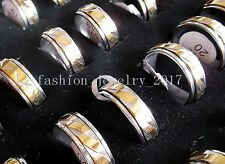 Wholesale Lots 10Pcs Turn Silver&Gold 316L Stainless Steel Rings Wedding Gift