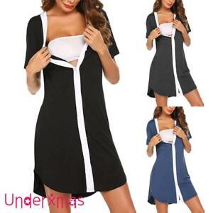 Maternity Pregnant Button Dress Nursing Nightgown Breastfeeding Pajamas Dresses