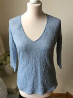 REISS Pale Blue Lace Effect Double Layer V Neck Top 3/4 Sleeves Size Small (10)